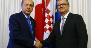 ZAGREB, CROATIA - APRIL 27: Turkish President Recep Tayyip Erdogan and Prime Minister of Croatia Tihomir Oreskovic shake hands before their meeting at the governmen building at St. Mark's Square of Zagreb, Croatia on April 27, 2016.   ( Kayhan Özer - Anadolu Agency )